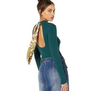 Free People Party In The Back Ribbed Cutout Top